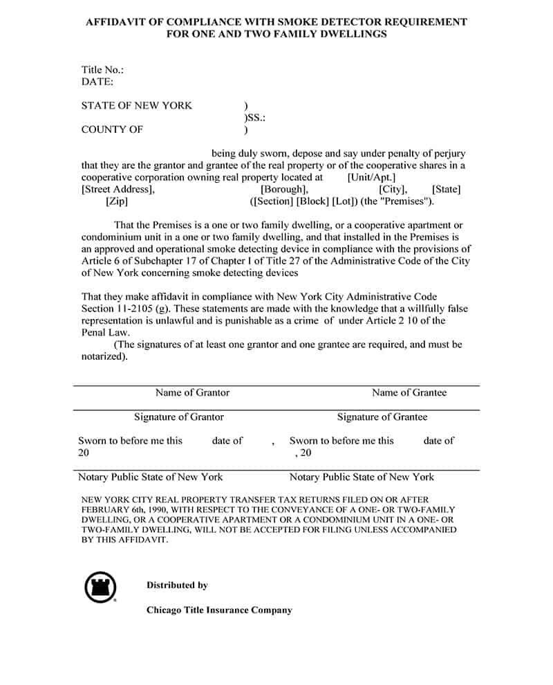 Affidavit of Compliance with Smoke Detector Requirement