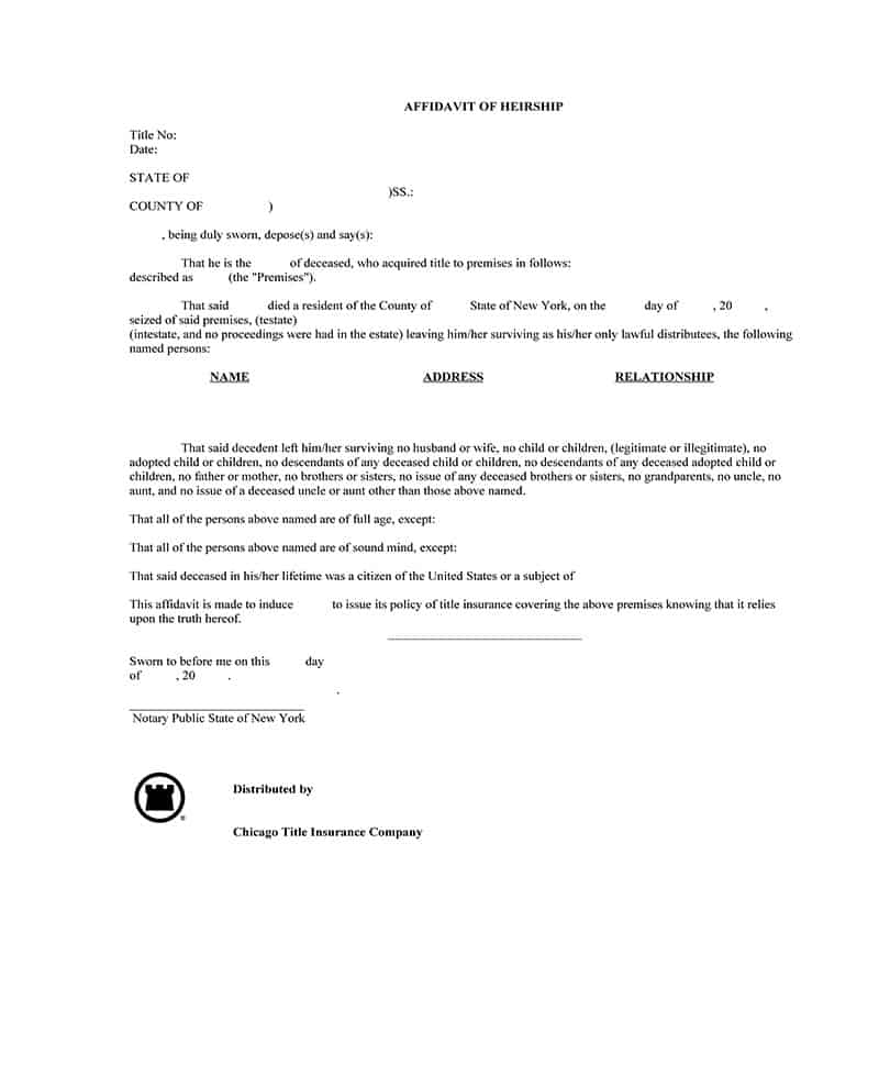 Affidavit of Heirship