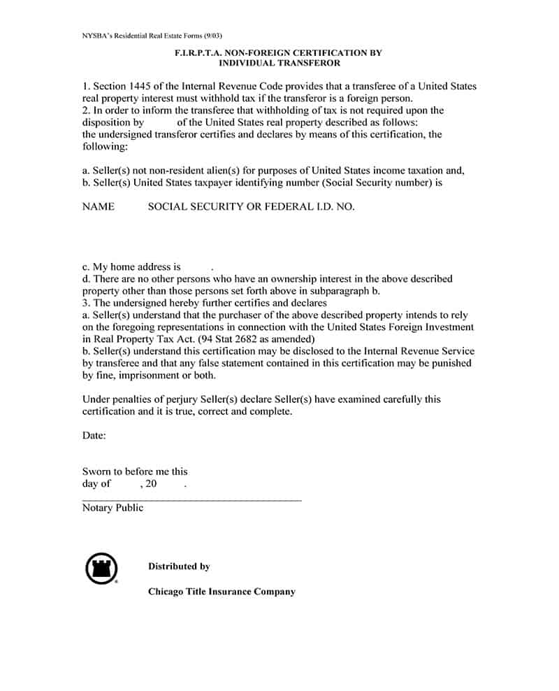 Non-Foreign Certificate by Transfer of Individual Transferor