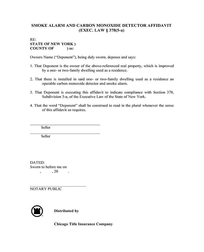 Smoke Alarm and Carbon Monoxide affidavit