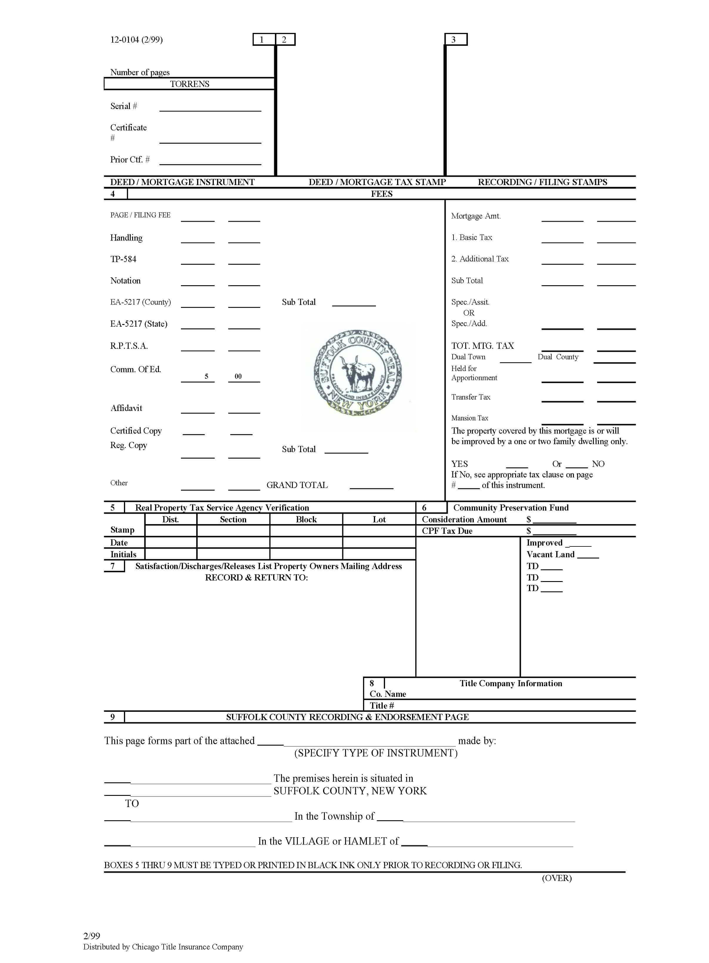 Suffolk County Recording Sheet