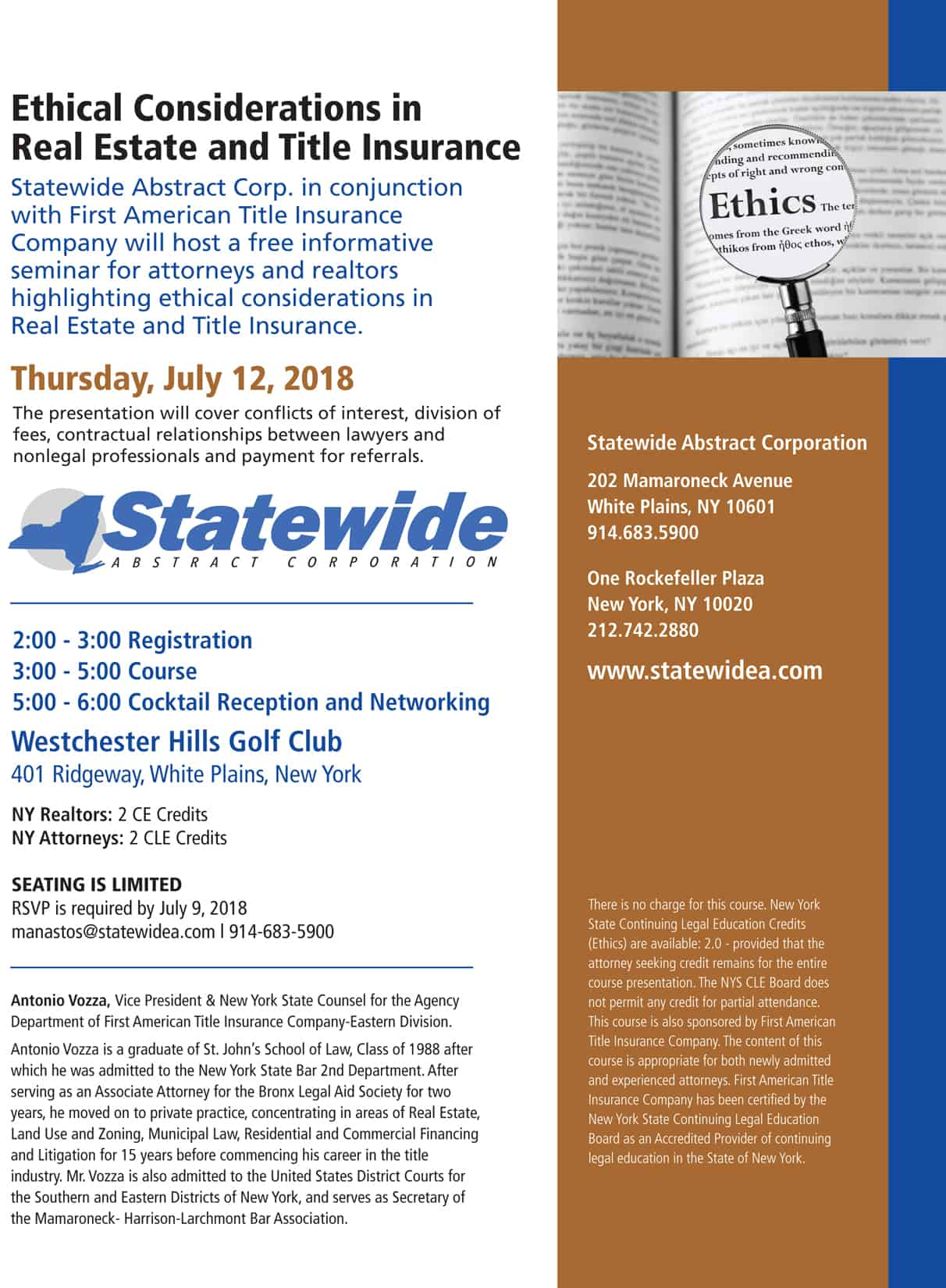 Free CE and CLE Seminar: Ethical Considerations in Real Estate and Title Insurance